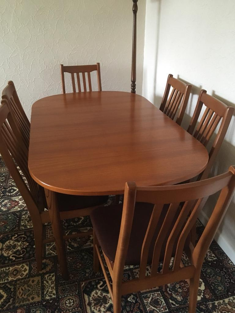 Cool Wood Dining Table And Six Chairs In Swansea Gumtree Machost Co Dining Chair Design Ideas Machostcouk