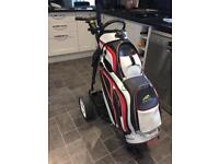 Electric golf trolley.