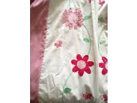Pink lined pencil pleat curtains 66x54