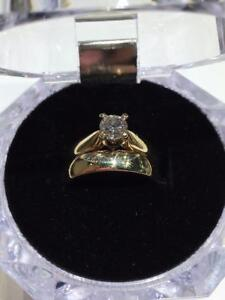 #1264 10-14K BEAUTIFL SIMPLE WEDDING SET WITH PLAIN BAND - SIZE 5 ~ **JUST BACK FROM APPRAISAL AT $4250.00!!**