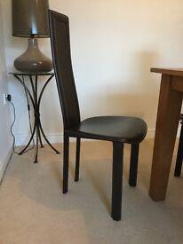 Leather Dark brown modern style chairs x 6