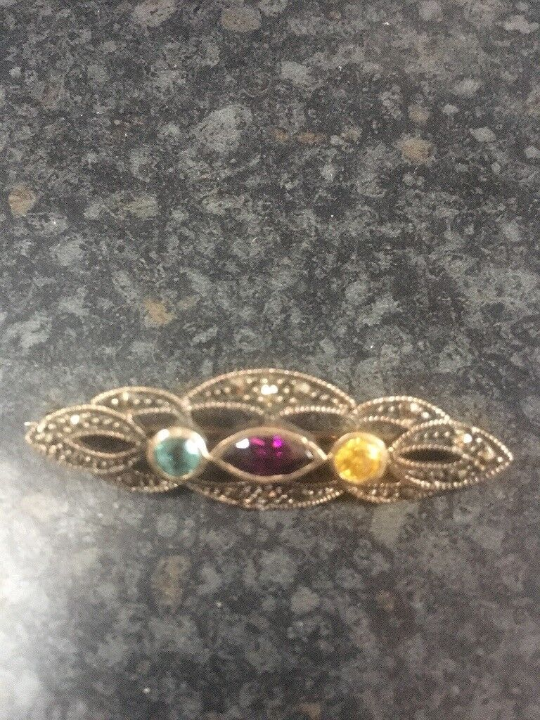 Vintage Marquise 925 MD gemstones brooch