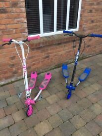 V Rider large kids scooters - one blue and one pink