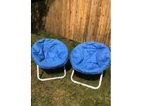 Pair of comfy folding children's camping/garden chairs