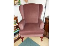 Orthopaedic Wing Chair - As New - Blush Pink Draylon Upholstery