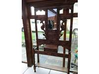 Used, SOLID WOOD OAK VINTAGE HALL STAND WITH MIRROR AND SHELF UNDERNEATH HOOKS CARVED KEY BOX for sale  Dorchester, Dorset