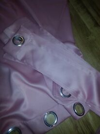 Ring top pink satin curtains and pale pink voils