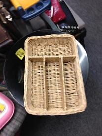 Wicker cutlery storage draw tray basket divider