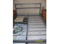 DOUBLE 4'6'' GREY METAL BED FRAME EXCELLENT CONDITION