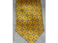 Silk Tie, Quality, Made in Italy - Yellow Equestrian Theme - Lovely Xmas Gift, New