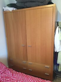 Solid Oak DOUBLE Wardrobe (Next Home) - Mint Condition