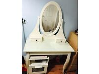 Beautiful dressing table white with glass countertop