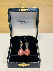 Pretty Peach Pink Vintage Silver Art Deco Retro Earrings Ladies Jewellery Gift