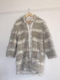 Long faux fur cream and beige coat