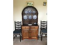 Solid oak dresser , table and chairs and nest of tablet