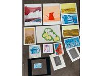 12 paintings 3 frame mounts . original art All for £5