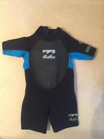 Billabong Intruder Flatlock 202 Shortie Kids wetsuit age 2-3 years