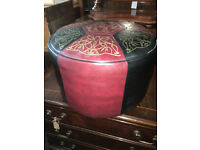 Lovely Vintage Retro 60's Red, Black & Gold Round Sherborne Foot Stool Pouffe