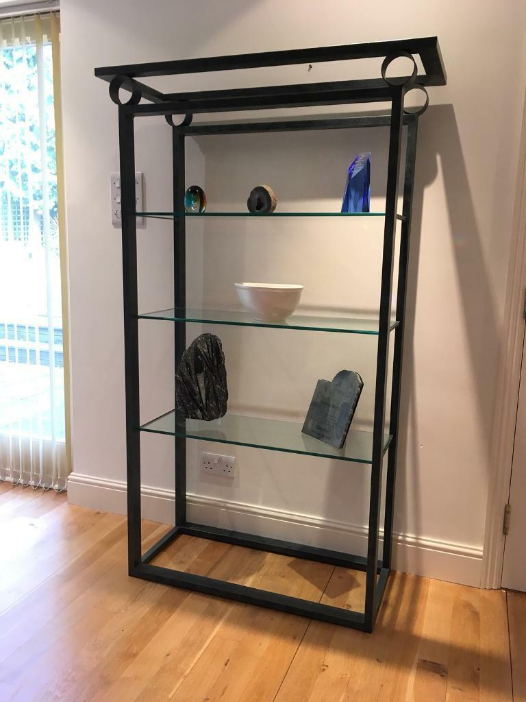 Stunning Verde Glass and Steel display unit. Perfect condition