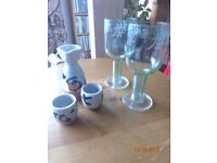 Beautiful Sake/Saki Japanese Jug and Goblets & 2 Japanese Wine Glasses