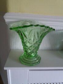 Vintage green cut hlass vase