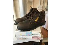 Brown safety boots