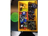 38 partially painted Warhammer figures include lots of paints, two measuring discs and special dice