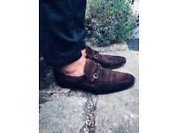 Rare Vintage Gucci Horsebit Loafers Brown Suede UK9