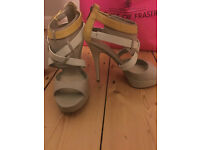 ALDO Frankenberg Yellow, White and Grey Strappy Gladiator High Heels, Leather, Size 5.5