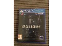 Hidden Agenda PS4 Brand New Factory sealed