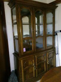 Solid Oak Display Cabinet, Larne, £80 ono