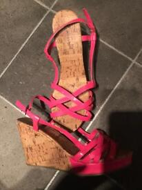 Pinks wedge heels size 6