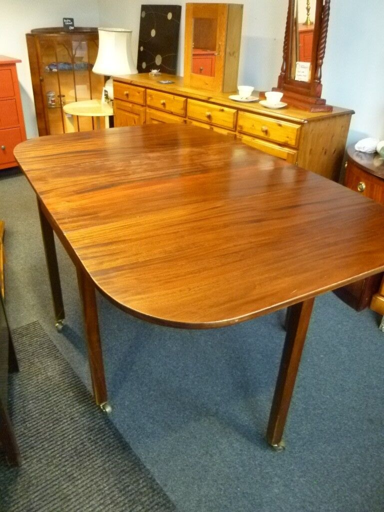 Refurbished Solid Mahogany Drop Leaf Dining Table