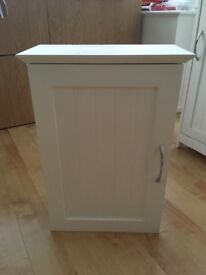White hand made wall hung bathroom cabinet - tongue and groove effect. Floor unit also available