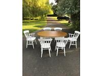 Hand painted solid oak shabby chic table and chairs