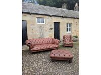 DFS ( OSKAR ) 3 seater 100% Leather Chesterfield Suite with Wing Chair and Large Foot-Stool