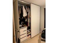 Pax IKEA wardrobe system, white with sliding doors