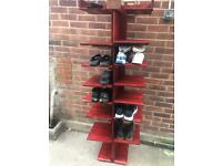 Hand crafted Elm wood shoe rack