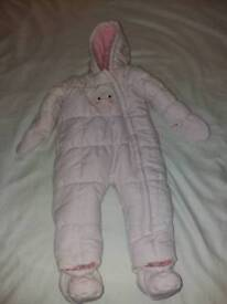 Mothercare Girls Pink 9-12 mths Snowsuit
