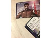Anthony Joshua tickets Lower Tier. 6 Rows up from Floor Seats