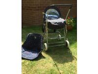 Child's silver cross toy pram and pushchair