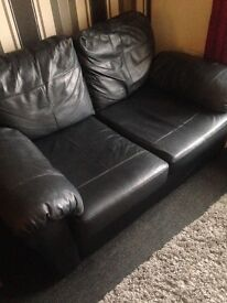 2x black leather sofas - nearly new!