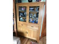 Large solid oak display cabinet / unit with large storage underneath