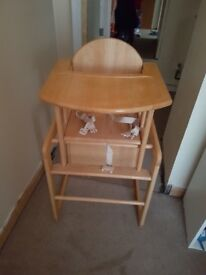 Baby highchair turns into toddler chair and table