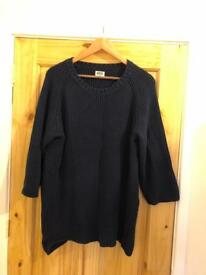 Weekday Navy Blue Oversized Longline Knit Jumper 3/4 Sleeve Ladies Medium