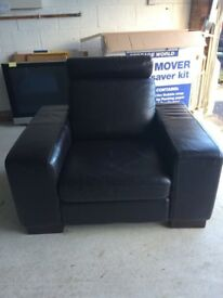 Brown Genuine Leather chair with headrest