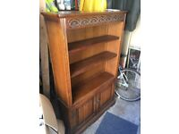 Solid Oak 'Old Charm' matching set of 3 cabinets including a cabinet, bureau, and bookcase