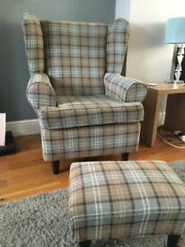 Wing back tartan armchair and matching stool