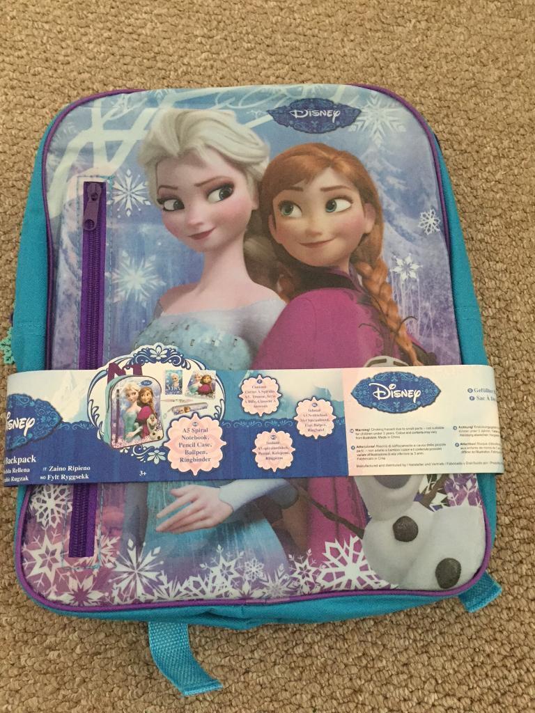 Frozen rucksack with notebook/folder/pencil case