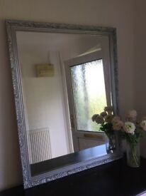 Large Mirror painted in silver